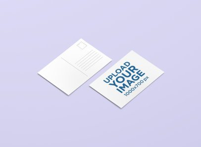 Front and Back View Mockup of a Customizable Postcard 1228-el