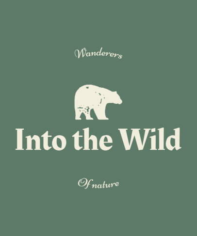 T-Shirt Design Template Featuring a Wild Bear Icon 55a-el