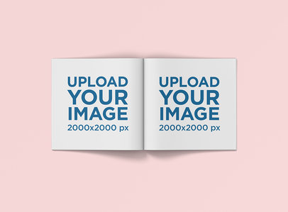 Minimal Mockup of a Square Magazine Against a Plain Color Background 1179-el
