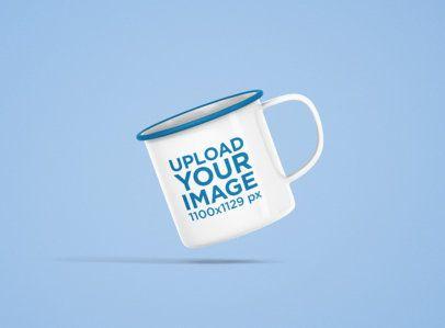 12 oz Color Rim Enamel Mug Mockup Featuring a Solid Color Backdrop 1202-el