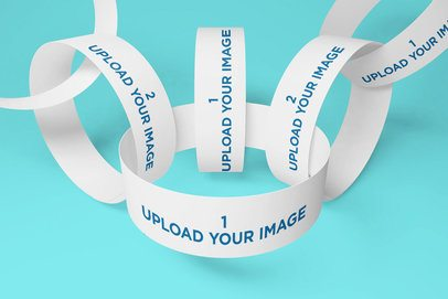 Mockup of Various Paper Wristbands Intertwined 723-el