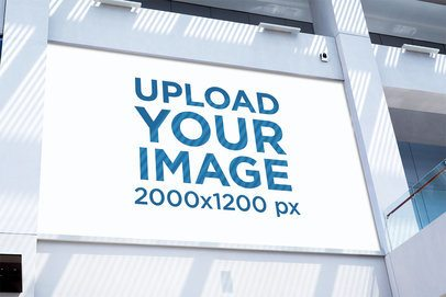 Horizontal Banner Mockup Placed in a Wall with Natural Lighting 1183-el