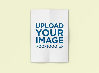 Folded Poster Mockup with a Plain Color Background 1239-el