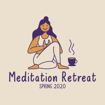 Wellness Instagram Post Template Featuring a Woman Meditating 2024a