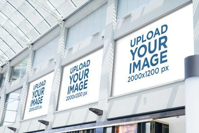 Mockup of Horizontal Banners Placed inside a Shopping Mall 1184-el