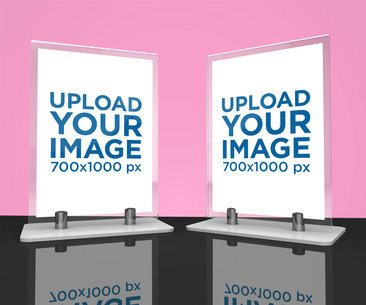 Mockup of Two Table Tents Standing on a Dark Surface 1364-el