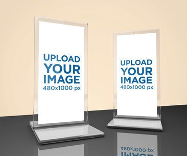 Mockup of Two Table Tents Placed on a Reflective Surface 1357-el