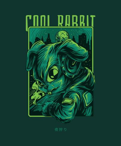 T-Shirt Design Maker Featuring a Rabbit Smoking 4a-el