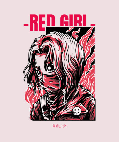 Illustrated T-Shirt Design Template Featuring a Girl with a Face Mask 4d-el