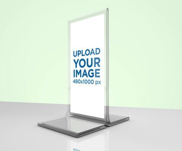 Table Tent Mockup Placed over a Smooth Reflective Surface 1358-el