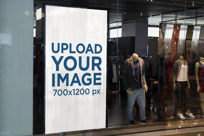 Mockup of a Vertical Banner Placed on a Window Store 1192-el