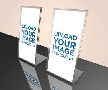 Mockup of Two Table Tents Standing on a Black Reflective Surface 1359-el