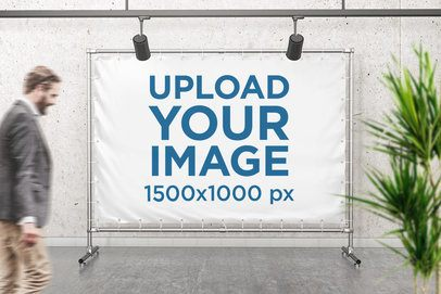 Mockup of a Banner Placed on a Steel Structure with People Passing By 981-el