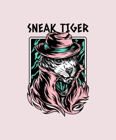 T-Shirt Design Template with a Mafia-Looking Tiger Graphic 33a-el