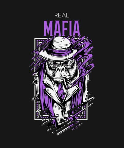 T-Shirt Design Maker Featuring a Mafia Gorilla Smoking a Cigar 33d-el