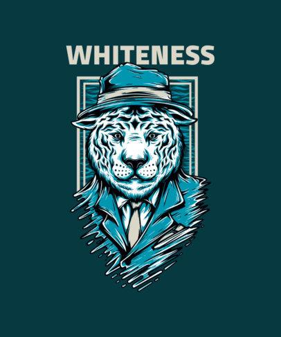 Mafia T-Shirt Design Maker Featuring a Suited White Tiger Illustration 33l-el
