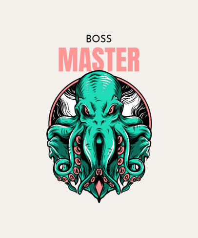 T-Shirt Design Generator Featuring an Aggressive-Looking Octopus 33m-el