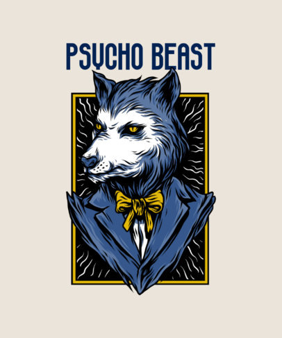Street Art T-Shirt Design Maker Featuring a Suited Wolf with Mafia Style 33o-el