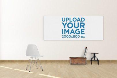 Horizontal Art Print Mockup Hanging on a Wall by Minimalistic Furniture 391-el