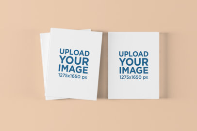 Mockup of Some Hardcover Books on a Solid Color Surface 1494-el