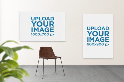 Mockup of Two Art Prints Hanging by a Modern Wooden Chair 392-el