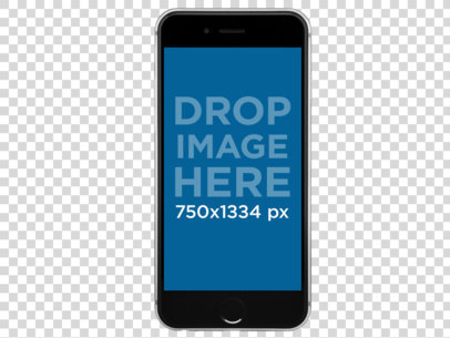 Black iPhone 6s Floating Over a PNG Background a11470