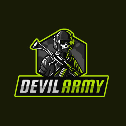 Gaming Logo Maker of a Soldier with a Horned Mask 2754g