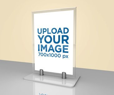 Mockup of a Table Tent Placed on a Flat Reflective Surface 1363-el