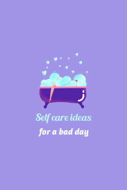 Illustrated Pinterest Pin Template for a Self-Care Ideas List 2025c