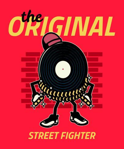 T-Shirt Design Template Featuring a Hip-Hop-Styled Vinyl Disc Clipart 2023e