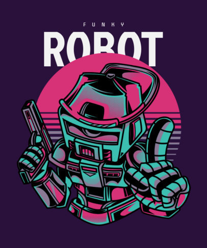 T-Shirt Design Template Featuring a Funky Robot Illustration 22b-el
