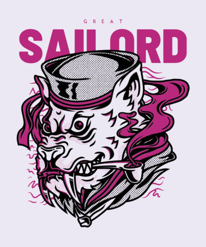 Animal T-Shirt Design Template Featuring a Smoking Sailor 22e-el