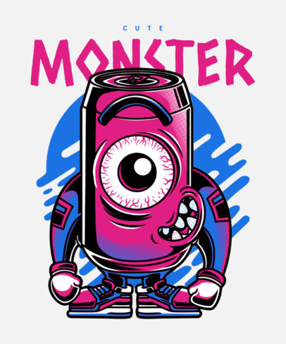 Urban-Styled T-Shirt Design Template Featuring a One-Eyed Monster 22k-el