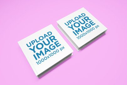 Mockup of Two Square Books Against a Customizable Surface 1566-el