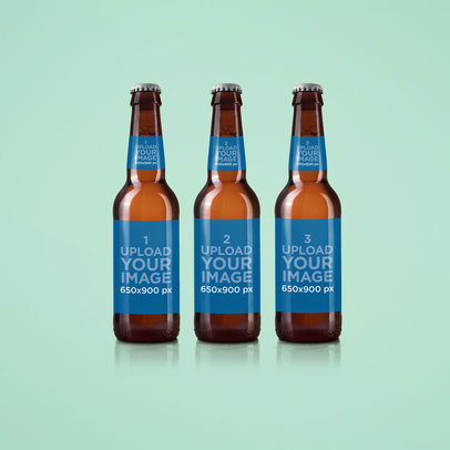 Label Mockup Featuring Three Beer Bottles 1415-el