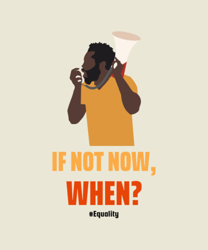 Equality T-Shirt Template with a Man Using a Megaphone Clipart 2022d
