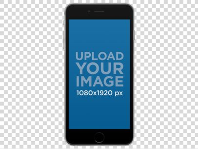 iPhone 6 Plus Mockup in Vertical Position Over a Transparent Background a11472
