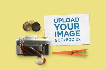Vintage Postcard Mockup Featuring an Old Camera 1437-el