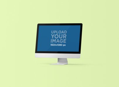 Render Mockup of an iMac Standing Against a Customizable Backdrop 1281-el
