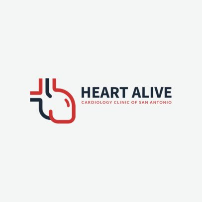 Cardiology Clinic Logo Template with a Heart Clipart 2510e-229-el