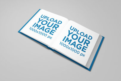 Square Hardcover Book Mockup with a Plain Color Background 1569-el