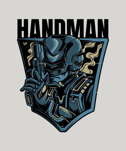 T-Shirt Design Template with an Android Warrior with a Handgun 27i-el