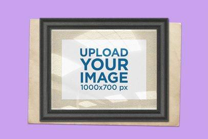 Vintage Photo Frame Mockup with a Solid Color Background 1440-el