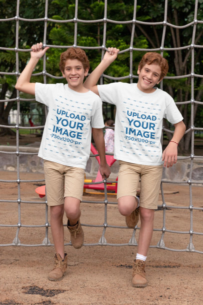 Mockup of Two Red-Haired Twins Wearing Customizable T-Shirts 30691
