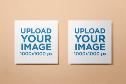 Mockup of Two Square Posters Against a Flat Surface 1741-el