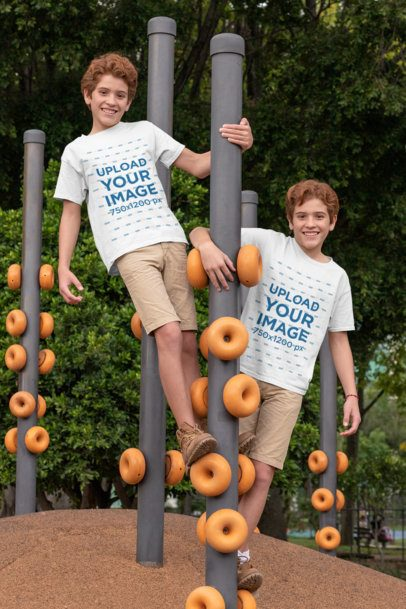 Mockup of Two Twins at a Playground Wearing T-Shirts 30692