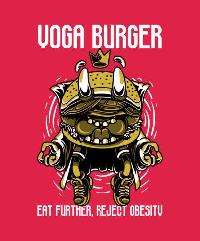 Junk Food T-Shirt Design Template with a Burger Cartoon 37j-el