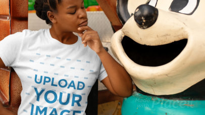 Stop Motion Video fo a Woman Posing Next to a Cartoon Character 22990
