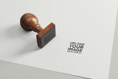 Mockup of a Stamp over a Paper Corner 1700-el