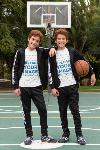 T-Shirt Mockup Featuring Red-Haired Twins at a Basketball Court 30689